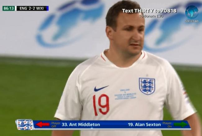 Dream - Alan Sexton came on for SAS hard man Ant Middleton in the final five minutes of the game at Stamford Bridge (credit: ITV)