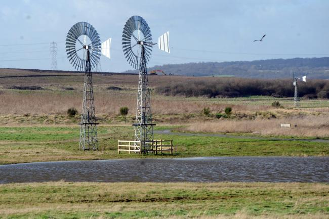 Bowers Marsh, East of Wat Tyler park. Various pix.Wind pumps. Picture Steve O'Connell. Copyright Newsquest Essex 30/01/2013.