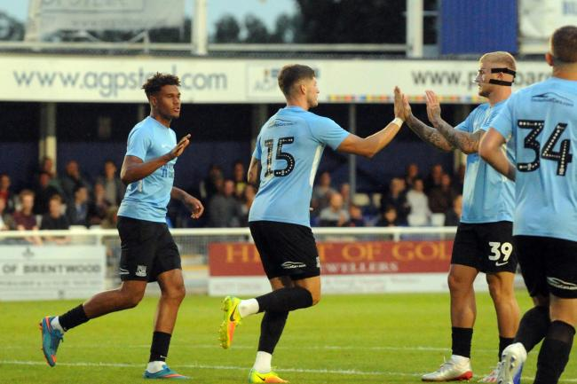On target - Rob Kiernan celebrates scoring for Southend United at Billericay Town