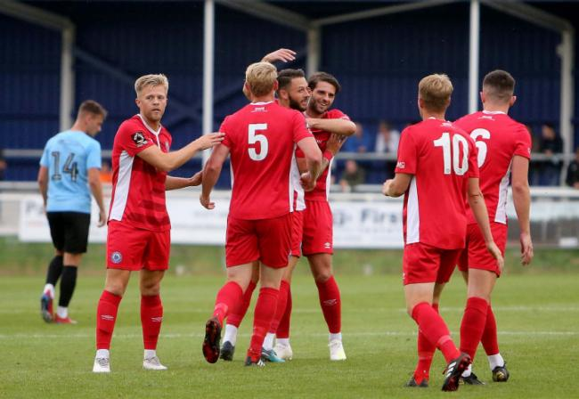 Hit the opener - Callum Kennedy is congratulated by his team-mates Picture: NICKY HAYES/iCORE LTD