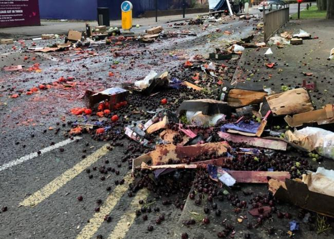 What a mess - the remains of the lorry's load spilled in Priory Crescent (picture: Southend Police)