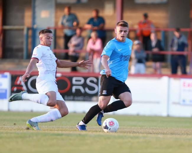 In the thick of the action - Charlie Kelman on the ball for Blues at Weymouth on Friday