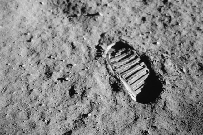 Foot print on the moon during Apollo 11