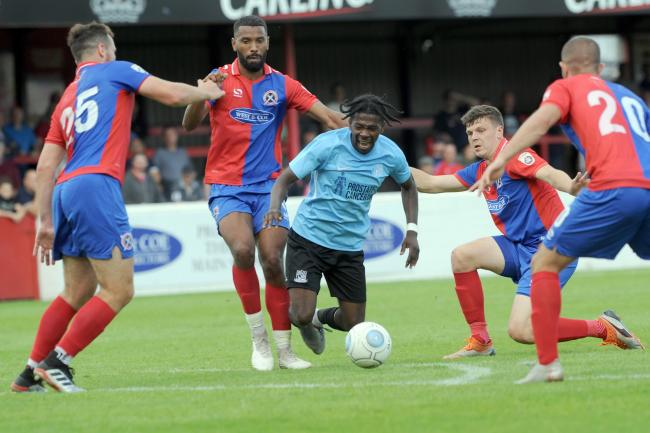 In the thick of the action - Blues trialist Isaac Buckley-Ricketts