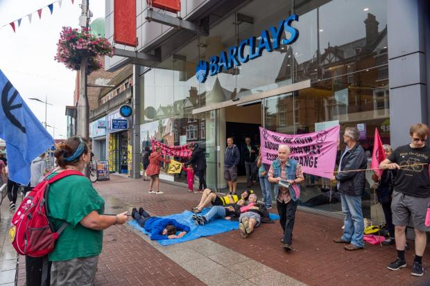Southend Extinction Rebellion group stages protest at high