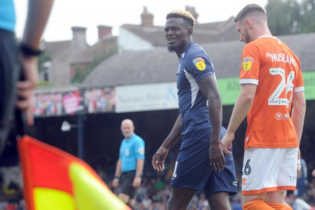 2019-20 season Southend v Blackpool at Roots Hall, Pic LM 10/08/2019Theo Robinson having words with the linesman