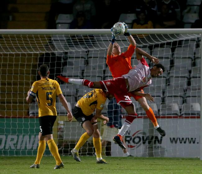 Claiming a cross - Southend United goalkeeper Nathan Bishop