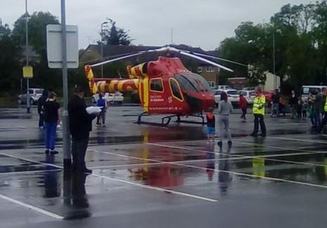 Air ambulance lands after man, 30s, is stabbed
