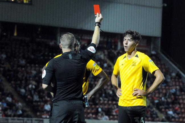Sent off - Isaac Hutchinson was red carded for Blues against Leyton Orient