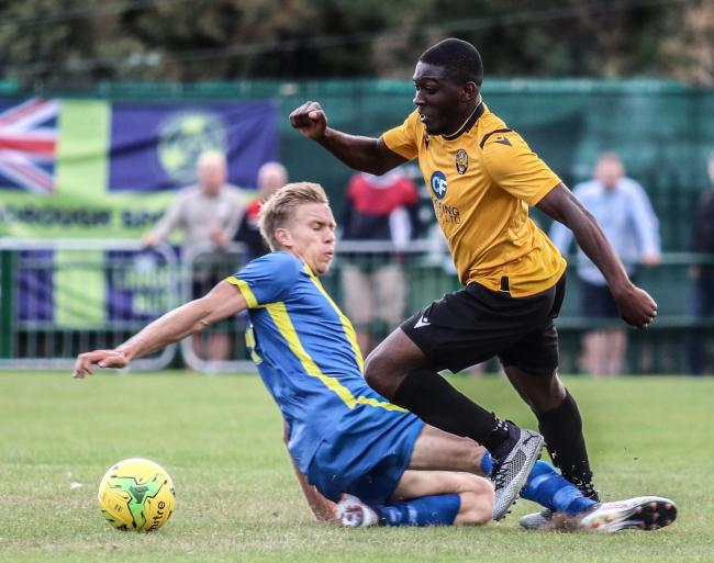 Looking to overcome the Peterborough Sports hurdle - Ayo Olukoga and East Thurrock United Picture: JACQUES FEENEY