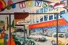 Hard work - Richard's mural depicting Woolworths