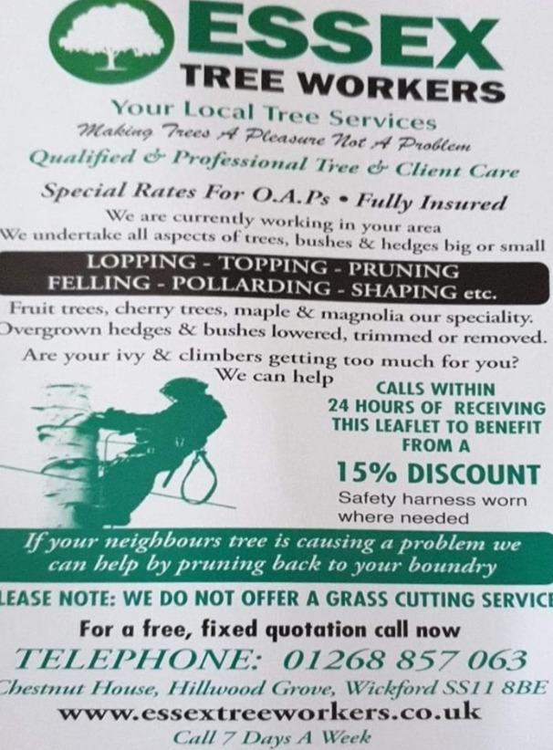Fear - Trading Standards warns people to stay away from Essex Tree Workers