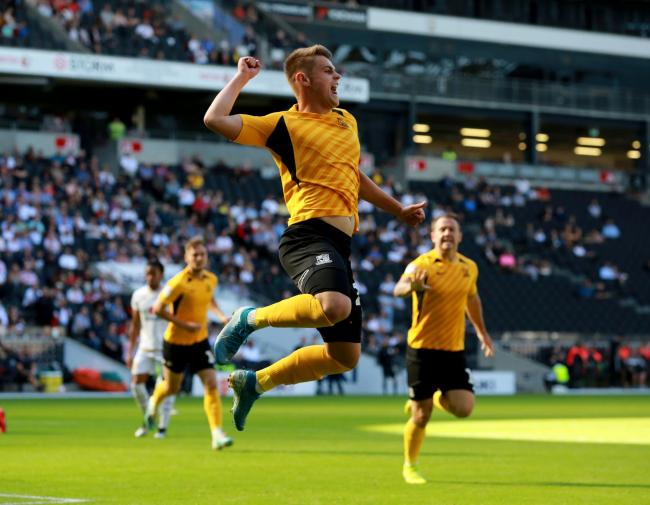 Jumping for joy - Charlie Kelman celebrates his goal