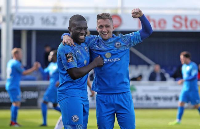 All smiles - Billericay Town's Moses Emmanuel (left) and Jake Robinson Picture: NICKY HAYES/iCORE LTD