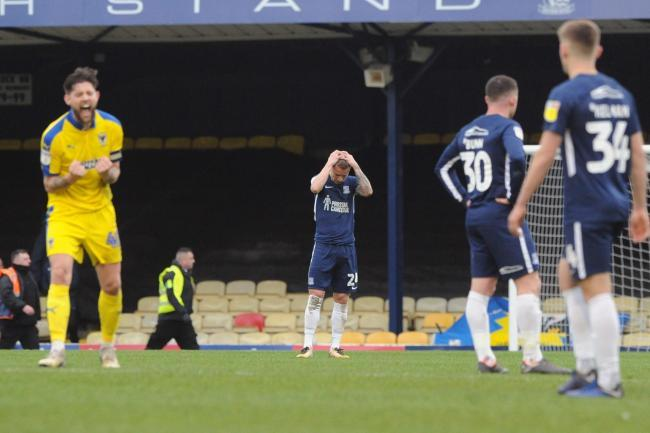 Joy - Anthony Wordsworth celebrates Wimbledon's win at Roots Hall last season