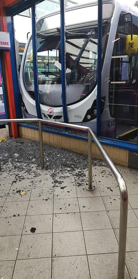 Crashed - bus hits shelter