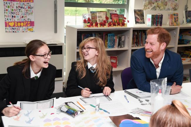 Harry jokes with Year 7 and 8 students
