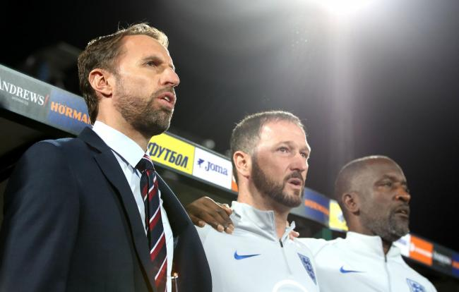 Angry - Gareth Southgate (left) along with ex Blues boss Chris Powell (right)