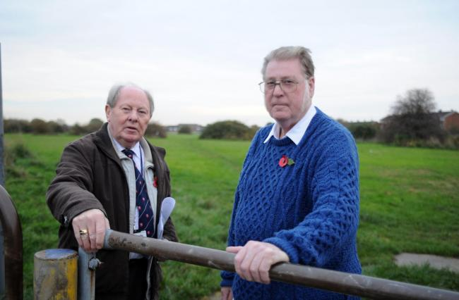 l/r Councillor Ray Howard and resident George Whatley..Limburg Road/Dyke Crescent, Canvey..Councillor Ray Howard and resident George Whatley have been fighting to stop development on Dutch Village site on Canvey since 1975. Pic of the two of them at the p