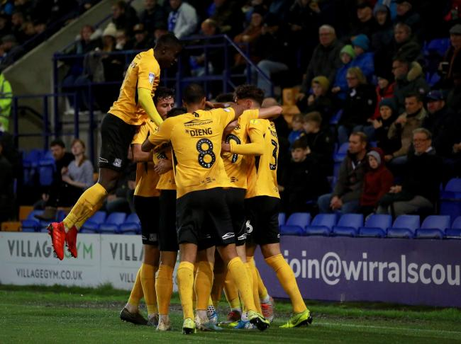 Taking the lead - Southend United celebrate Tom Hopper's early goal