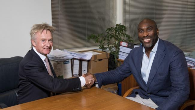 Done deal - Southend United chairman Ron Martin shakes hands with new Blues boss Sol Campbell Picture: GRAHAM WHITBY BOOT/SUFC
