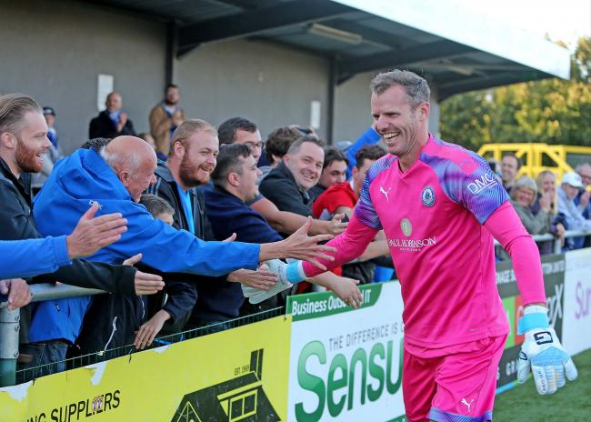 All smiles - Billericay Town fans and Alan Julian Picture: NICKY HAYES/iCORE LTD