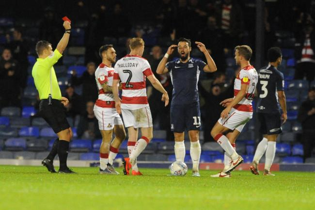 Red carded - Southend United winger Stephen McLaughlin is sent off   Picture: LUAN MARSHALL