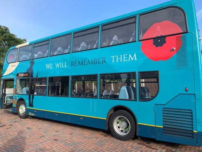 Arriva buses with remembrance decorations