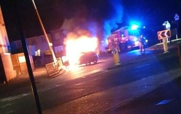 Car bursts into flames after crash in Southend