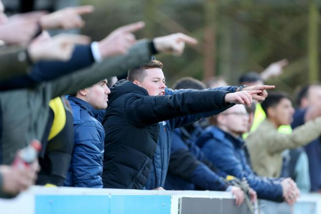 Venting their fury - Southend United's fans at the final whistle on Sunday