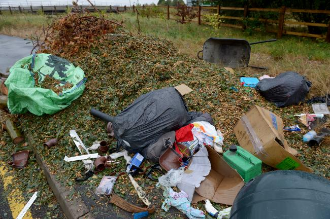 Rising - Fly tipping near Basildon and District Crematorium