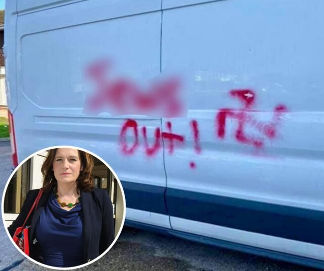 Some of the vile graffiti left on cars and homes on Sunday. Inset: Rebecca Harris