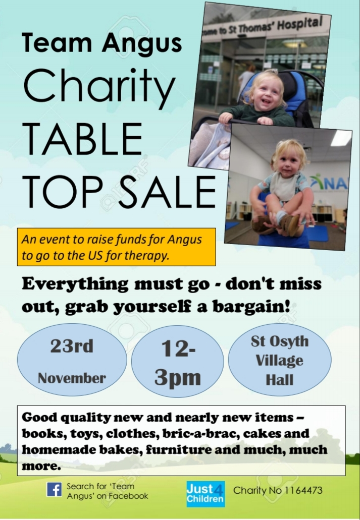 Huge charity table top sale