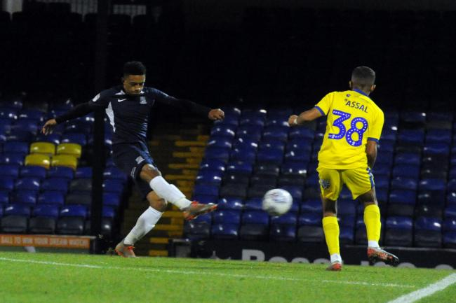 Firing home - Nathan Ralph fires home against AFC Wimbledon on Wednesday night