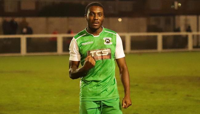 Crucial - Ernest Okoh grabbed the only goal as Basildon United overcame Tilbury Picture: MATTHEW THOWNEY
