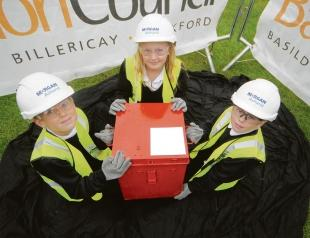Time team – Lewis Bullard, Emily Nind and Kye Marshall, ten, bury the time capsule