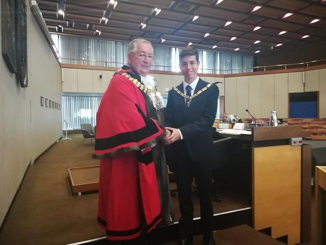 Ambitious - Nathaniel Whitehouse with Southend mayor John Lamb at the council meeting on Thursday