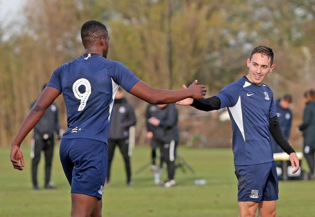 On target - Emile Acquah and Matt Rush celebrate    Picture: NICKY HAYES