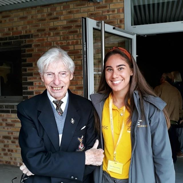 Intern - Lucy-Anne with George Sutherland, who worked as a flight mechanic during the Second World War