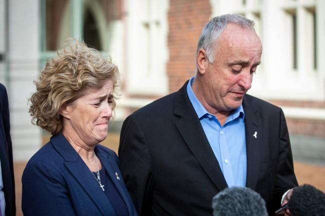 Tears - Grace's parents, David and Gillian ourside the court  Pic: The New Zealand Herald