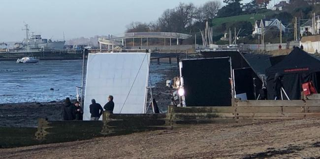 Filming - the crews on the beach - pic by Saltwater Beach Cafe.