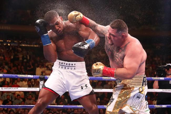 Andy Ruiz Jr, right, lands a punch on Anthony Joshua in their first fight