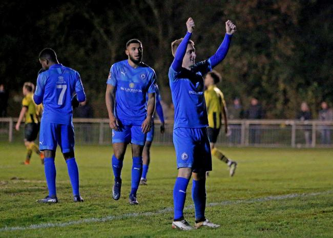 Centurion - Jake Robinson celebrates after scoring his 100th Billericay Town goal Picture: NICKY HAYES/iCORE LTD