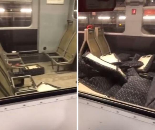 Fury as gang of yobs destroy train carriage seats