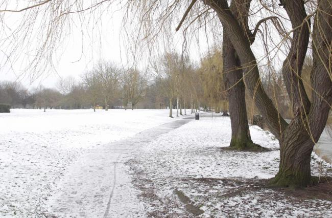 Snow scenes around Castle Park and Colchester on Sunday.