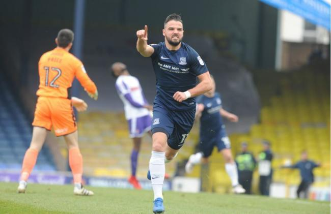 On target - Blues winger Stephen McLaughlin celebrates scoring against Rotherham United in March 2018