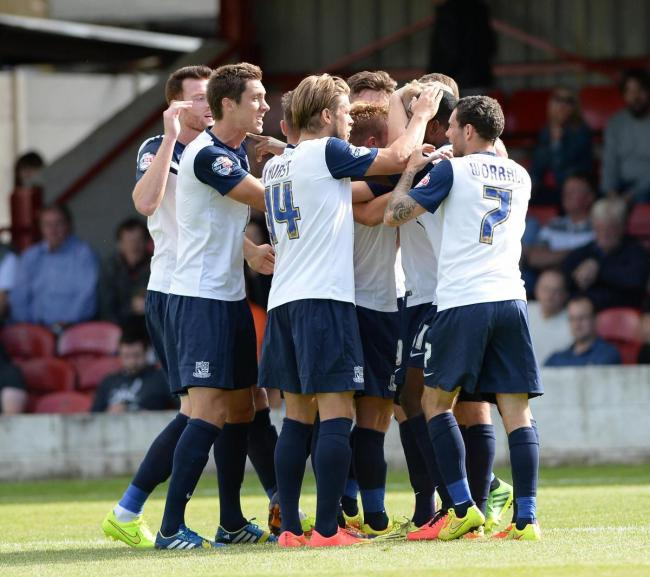 Flashback - Southend United celebrate Lee Barnard's winning goal at Accrington Stanley in 2014