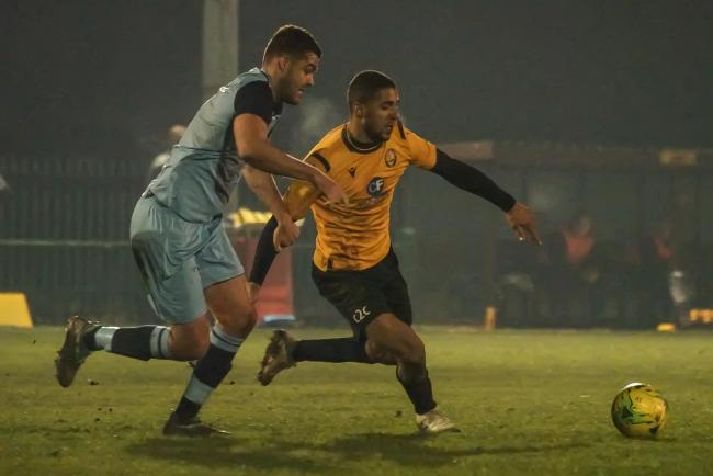 Hit the back of the net - East Thurrock United's Frankie Merrifield Picture: MIKEY CARTWRIGHT