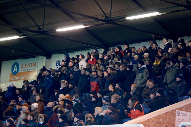 Backing their team - Southend United's supporters at Peterborough United on Tuesday night