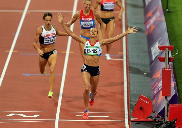 Echo: GOLD: Great Britain's Jessica Ennis celebrates winning the Heptathlon, after the 800m event during day eight of the London 2012 Olympic Games at the Olympic Stadium, London. Picture: PA Wire